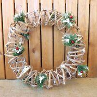 "Nordic Spruce Red Berry Round Rattan Christmas Winter Wreath Door Decoration 16"""