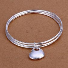 Triple Brazalete con encanto del corazón, de plata esterlina, Placa De 65 mm de diámetro, Pulsera