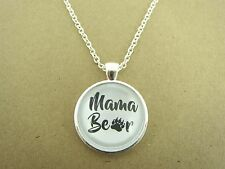 Le madri Giorno Mamma Orsa Design in Argento Ciondolo Collana in vetro NUOVO nella borsa regalo