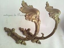Superbe Paire Grosses embrasses rideaux ancien bronze curtain tie back hook XIXè