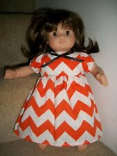 Bitty Baby twin Doll Clothes girl orange white chevron dress