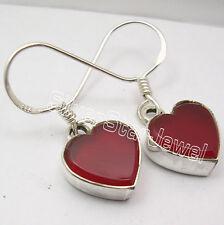 925 Sterling Silver RED CARNELIAN Gem LOVELY French Hook HEART Earrings 2.9 CM
