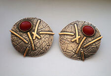 Large Designer 14K Gold Sterling Silver 925 Ox Blood Red Coral Earrings 13.5 g.