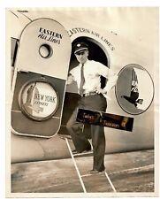 Vintage 1936 Press Photo EASTERN AIR LINES PLANE PILOT Newark Statue Liberty NY