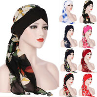Pre-Tied Hijab Muslim Turban Head Scarf Flowers Printed Shawl Chemo Hat Headwear