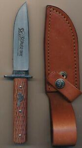 Tidioute Cutlery Iron Works Wood Handle Beaver Tail  Original Sheath Made in USA