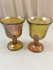 Colony Harvest Grape Iridescent Amber Carnival Glass Goblets 5.25""