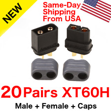 20 pairs Amass XT60H Connector Plug 3.5mm Gold Plated Plug Black Lipo W/ Caps