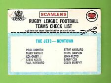 1977 SCANLENS RUGBY LEAGUE CHECKLIST - NEWTOWN JETS,  MARKED