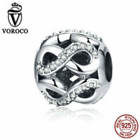 Voroco Fashion 925 Sterling Silver Endless Charm Crystal Bead For Bracelet Chain