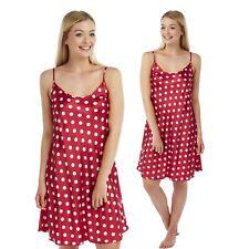 Ladies Red White polka dot Satin Chemise Nighty Nightshirt Size 12 14 16 18
