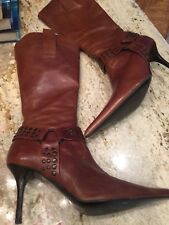 DUNE BROWN LEATHER BOOTS SIZE 37/4 Vgc