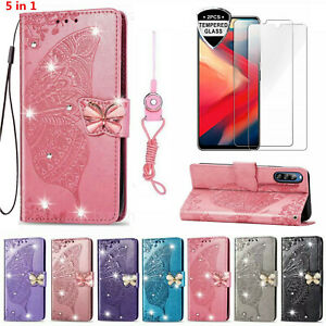 Bling Butterfly Wallet Phone Case & 2 Glass Screen Protector Film & 2 Straps C