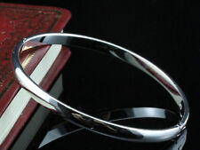 Popular Smooth Style Open Clasp Plain Stamped 925 Sterling Silver Plated Bangle