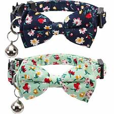 2 Pack/Set Cat Collar Breakaway with Cute Bow Tie and Bell for Black+Green