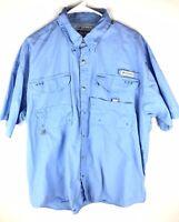 Mens Columbia Sportswear PFG Vented Performance Fishing Gear Shirt Large Blue