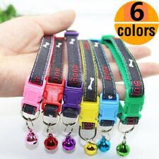6pcs/lot  Wholesale Dog Puppy Cat Collar Denim Necklace Pet Collars Bell Maltese