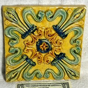 Two Large Colorful Ceramic Tile Hanging Wall Decor Yellow Green Blue Combination