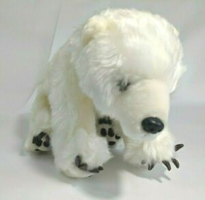 Polar Bear Plush by National Geographic Embroidered Feet White Stuffed Animal