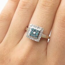 10k Gold Real Blue & White Diamond Ring Size 7