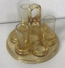 Vintage Shot Glass Holder Set Yellow Glass BEAUTIFUL SET