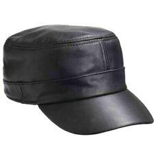 Black Genuine Leather Cap Flat Hat Biker Trucker Sports Visor Solid Mens Womens