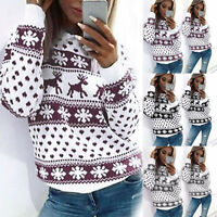 Women's Xmas Party Christmas Jumper Knitted Ladies Snowflake Sweater Tops Blouse