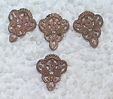 VINTAGE 1930'S RICH PATINA FINE FILIGREE BRASS DELICATE STAMPINGS 10 PCS