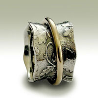 925 Sterling Silver Gold Spinner Wide Ring Oxidized Filigree Vintage Style 14mm