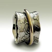 925 Sterling Silver Ring Gold Oval Face Ball Design Dainty Narrow w// Garnet 6mm
