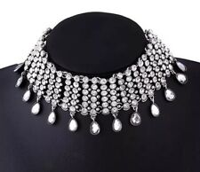 Zara Silver Rhinestone Choker Necklace With Droplets