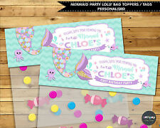 MERMAID PARTY SUPPLIES LOLLY BAG TAG PERSONALISED THANK YOU FAVOUR LOOT TOPPER