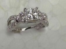 Moissanite Engagement Ring Solid 14K White Gold FN 2.5CT Princess Cut Twisted