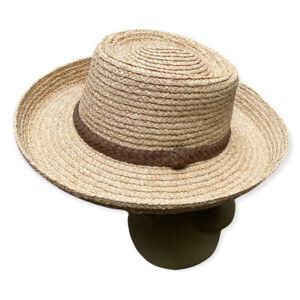 NWOT GIGI PIP Straw Hat Suede Braided Band Western Sunhat Size M/L (59 cm)