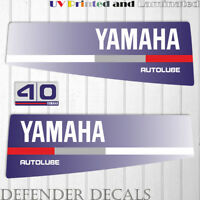 Yamaha 40 HP AUTOLUBE outboard engine decal sticker Set Kit reproduction Blue