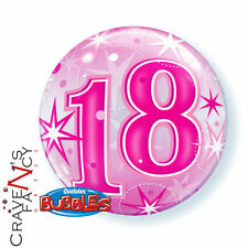 "22"" Bubble Qualatex Happy 18th Birthday Pink Starburst Sparkle Balloon New"