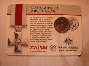 2017 Distinguished Service Cross - 100 years of Anzac, 20c carded coin.