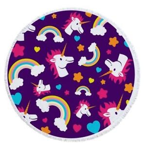 3D Rainbow Unicorn ZHUB213 Summer Plush Fleece Blanket Picnic Beach Towel Zoe