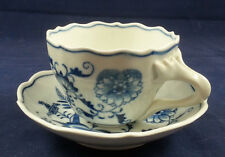 Nice Antique Teichert Meissen Blue Onion Cup and Saucer Oval Star Mark