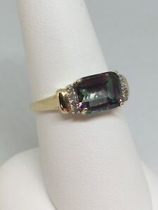 10k Yellow Gold Mystic Topaz And Diamond Ring 2.1 Grams Size 7.25