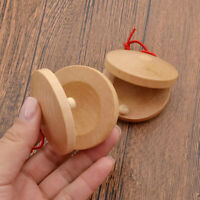 Wooden Castanets Kids Toy Rhythm Percussion Flamenco Musical Instrument Craft