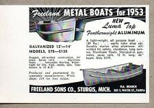 1953 Print Ad Freeland Metal Boats Luma Top Featherweight Aluminum Sturgis,MI