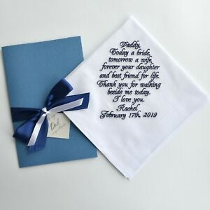 Personalized Wedding Handkerchief for Father of the Bride Dad wedding gift hanky