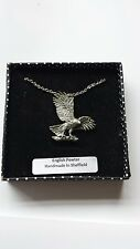 B37 Hawk/Eagle english pewter 3D Platinum Necklace Handmade 18 INCH