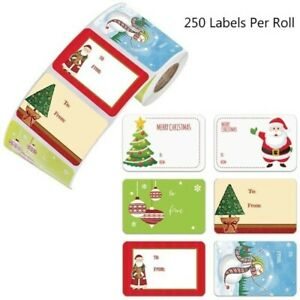 1 Roll 6 Designs Sticky Christmas Gift Name Label Packag Stickers XMAS Decor