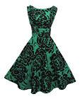 NUEVO Rosa Rosa 1940's Estilo 50's Estilo Verde Negro floreado
