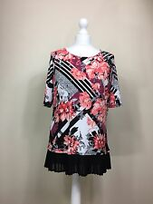 David Emanuel Pink Black Floral Rose Print Top Blouse pleated drop hem UK12 (AC)