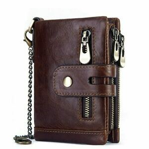 Mens Biker Genuine Leather Wallet RFID ID Credit Card Holder Purse with Chain