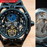 Mens Flywheel Open Heart Luxury Bling Skeleton Automatic Mechanical Wrist Watch