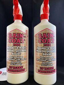 2 x Render or Brick Waterproof spray sealer 1 Litre-Rain coat PINK - NO SHINE